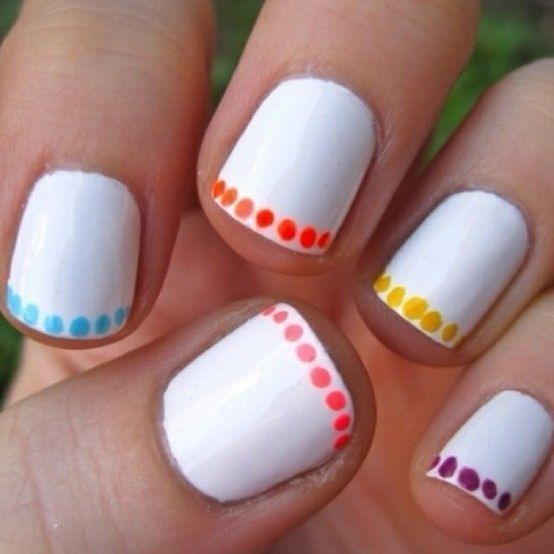 Alternative French manicure with polka dot tips